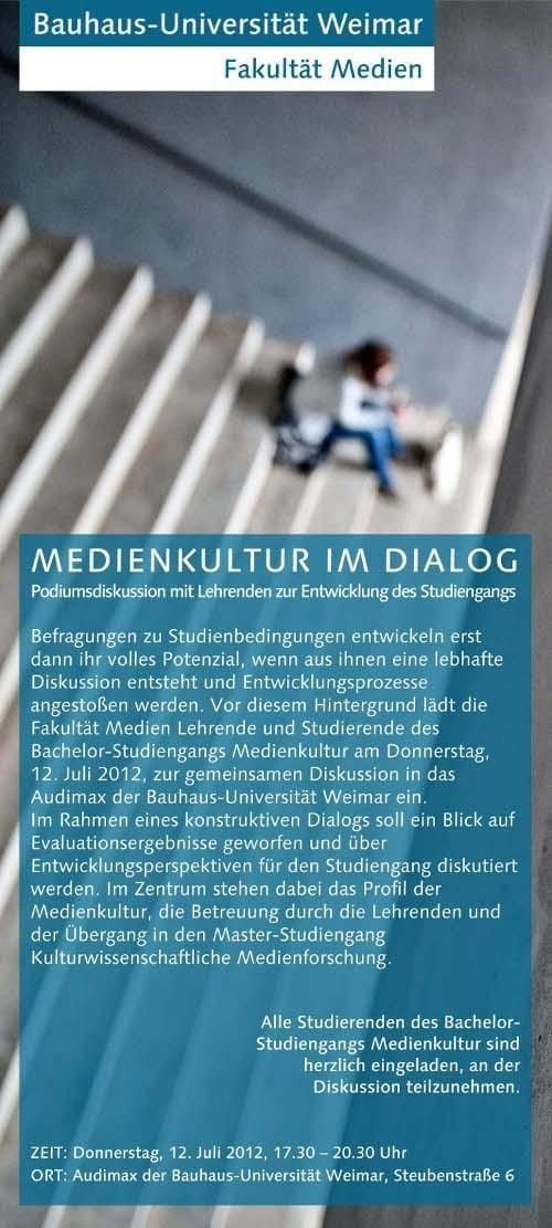 Vollversammlung der (Europäischen) Medienkultur am 12.7.2012 um 17 Uhr im Audimax