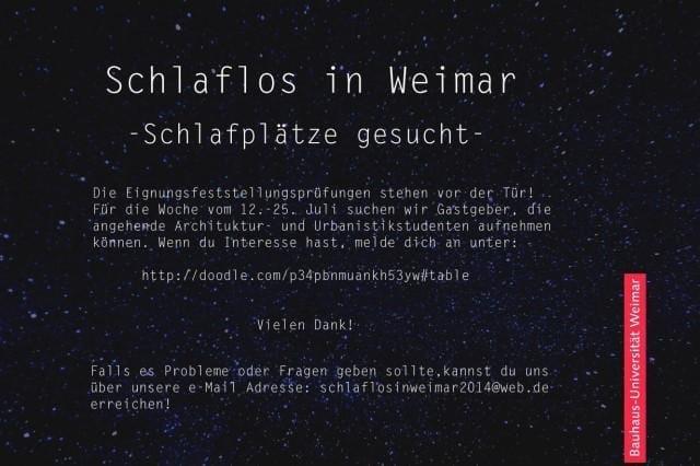 Aufruf Schlaflos in Weimar