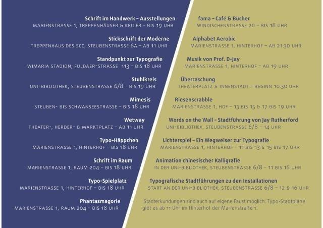 Höhepunke des Typografie-Festivals