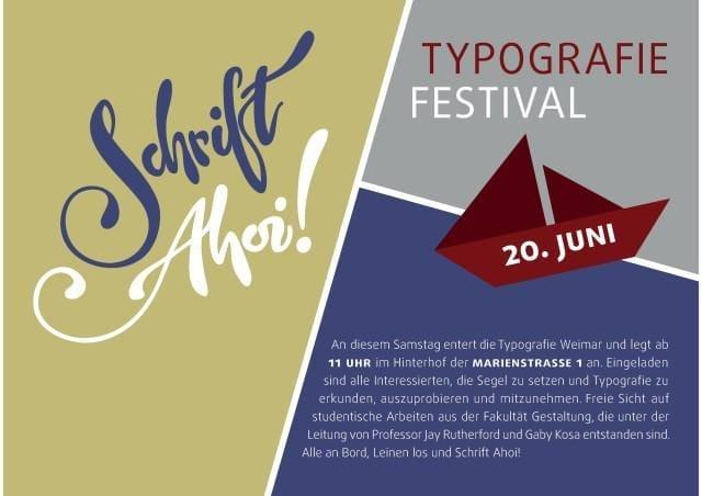 """Erstmals findet in Weimar das Typografie-Festival """"Schrift Ahoi!"""" statt."""