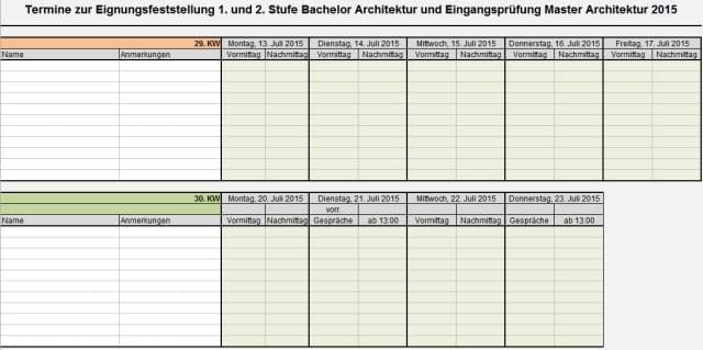 Studierende gesucht eignungsfeststellung 1 stufe for Master architektur